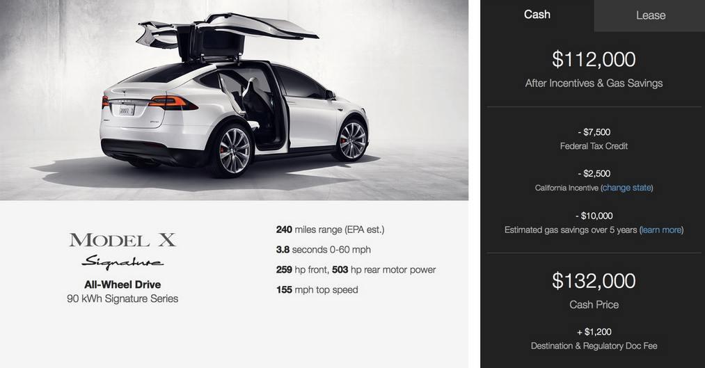 Tesla Model X Signature price