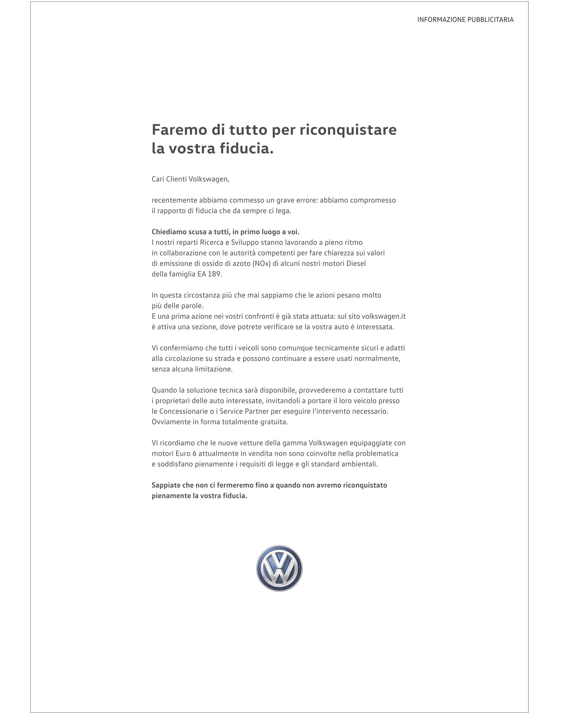 Lettera Volkswagen Dieselgate